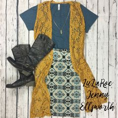 Join LuLaRoe Jenny Ellsworth's shopping group for more outfit inspiration! LuLaRoe Joy Vest, Cassie Skirt and Classic Tee.