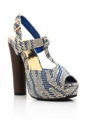 woven chunky platform peep-toe heels