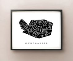 Montmartre Map  Paris District Art Print by CartoCreative on Etsy