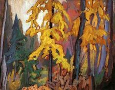 Golden October- Lawren Harris- Group of Seven- (original member) Group Of Seven Art, Group Of Seven Paintings, Canadian Painters, Canadian Artists, Tom Thomson Paintings, Landscape Paintings, Collage Landscape, Abstract Landscape, Oil Paintings
