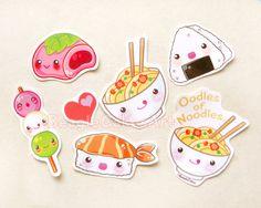 Japanese Food Stickers. Ramen Noodle. Mochi. by BeagleCakesArt #food #décor