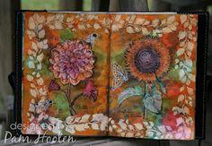 Garden Album by Pam Hooten using Dahlia and Sunflower Clear Art Stamps by Crafty Secrets