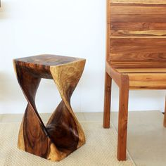 12 inches Square x 20-inch Wooden Hand-carved Walnut Oil Twist Stool (Thailand) | Overstock.com Shopping - Big Discounts on Haussmann Stools...
