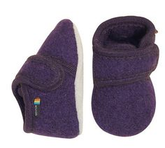 Melton Wool Baby Soft Shoe - Plum