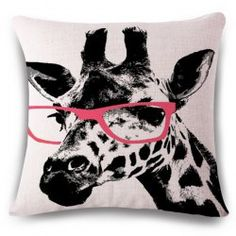 Fashionable Giraffe Pattern Square Shape Flax Pillowcase (Without Pillow Inner) - COLORMIX