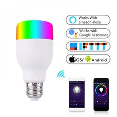 Wi-Fi Colorful Smart Light Bulb Price: $ 25.98 & FREE Shipping #smartlights #smarthome #smartliving #lightbulbs #teknokave #gadgetslovers Smart Home Control, Smart Lights, App Remote, Luminous Flux, Gaming Accessories, Works With Alexa, Cool Things To Buy, Stuff To Buy, Cool Gadgets