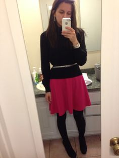 Pink pointe dress - old navy, pewter skinny belt - the limited, black chunky knit turtleneck sweater - h&m, black suede platform pumps - target  Work wear outfit business casual