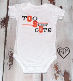 Too Stinkin' Cute One Piece Bodysuit/Creeper - Embroidered OSU on Etsy, $16.00