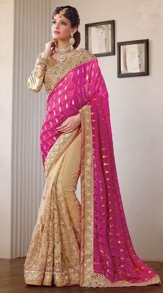 Cream Viscose Dark Pink Net Pallu Golden Border Wedding Wear Saree