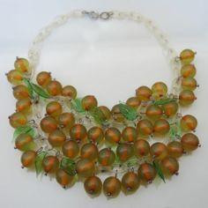 Vtg Applejuice Bakelite Glass Leaf Celluloid Chain Dangle Bib Cluster Necklace | eBay