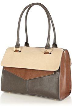 Flap Top Tote Bag: The contrasting neutral faux leather tones used in this tote differentiate this bag from the rest. Get yours now by clicking on the image.