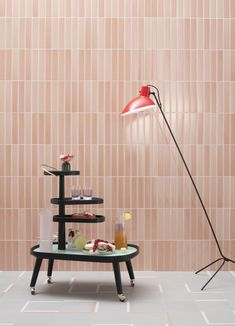 Tinte by Quintessenza. PHOTO From in Italy +delivery Terrazzo, Desk Lamp, Table Lamp, Pink Tiles, Encaustic Tile, Wall Finishes, Japanese Design, Color Of The Year, Corona