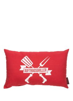 MAGMA - Kissen AUFTRAGSGRILLER € 9,99 Red Gifts, Bbq Grill, Bed Pillows, Pillow Cases, Red Color, Colors, Bar Grill, Pillows, Barbecue