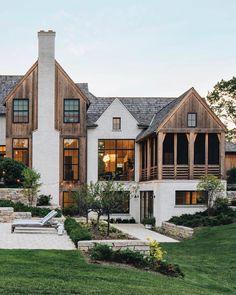 Rustic Houses Exterior, Modern Farmhouse Exterior, Dream House Exterior, Luxury Homes Exterior, Dream Home Design, My Dream Home, Custom Home Builders, Custom Homes, Custom Home Designs