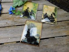 Set of 3 Vintage 1930's Art Deco Silhouette Pictures - Man and Woman With Parasol in Boat - Woman and Young Child - Man and Woman With Tree by allthatsvintage56 on Etsy
