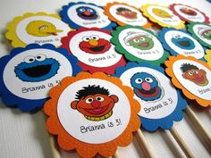 Sesame Street Inspired Cupcake Toppers - Set of 12