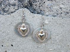 ngbjewels silver earrings with mother pearl and silver heart