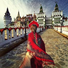 Natalia dressed in traditional Russian garb as she led Murad towards the Kremlin in Izmailovo, a beautiful example of ancient Russian culture and architecture in Moscow.