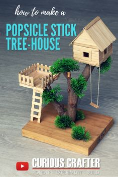 DIY Popsicle Stick Tree House Tutorial - How to Make a Small Tree House with Ice . DIY popsicle stick tree house tutorial – how to create a small tree house with popsicles by Curious Crafter Popsicle Stick Crafts House, Craft Stick Crafts, Fun Crafts, Craft Stick Projects, Diy Projects With Popsicle Sticks, Craft Sticks, Mini Craft, Wood Sticks, Garden Crafts