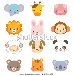 Find Cute Animal Illustrations Face 12 Types stock images in HD and millions of other royalty-free stock photos, illustrations and vectors in the Shutterstock collection. Thousands of new, high-quality pictures added every day. Animal Masks, Animal Heads, Safari Animals, Cute Animals, Cute Animal Illustration, Animal Illustrations, Animal Design, Preschool Crafts, Royalty Free Photos