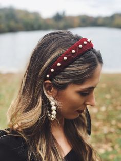Matador Bordeaux Burgundy Maroon Red Velvet Pearl Headband Crown Matador Bordeaux Burgundy Maroon Res Velvet Pearl Headband Crown – Station Of Colored Hairs Pearl Headband, Twist Headband, Crown Headband, Braided Headbands, Braided Hairstyle, Black Headband, Men's Hairstyle, Hair Scarf Styles, Headband Styles