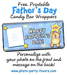 DIY Father's Day Craft Gift Idea - Personalize these free, printable candy bar wrappers with a photo and your message for a sweet treat for Dad (or Grandpa, Uncles, etc.) More printables and other party stuff at http://www.photo-party-favors.com Diy Father's Day Crafts, Father's Day Diy, Holiday Crafts, Holiday Ideas, Cute Fathers Day Ideas, Fathers Day Crafts, Gifts For Dad, Kids Gifts, Craft Gifts