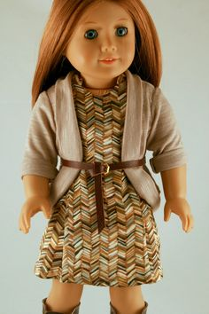 American Girl Doll Clothes - 70's Panel Dress, Taupe Cardigan, and Leather Belt