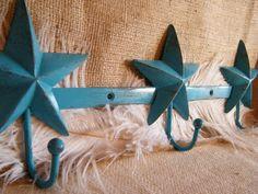 wall hooks rustic blue stars