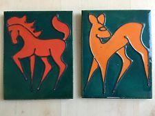 2x Keramik Wandbild Reh und Pferd Vintage Pottery Wall Plaque 60er Sixties