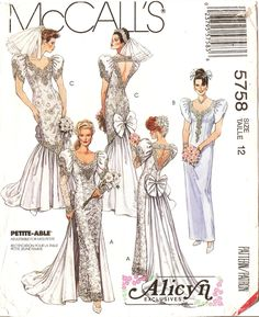 McCall's 5758 Misses' Retro 1990s Alicyn Exclusives Modern Victorian Style Wedding Gown and Bridesmaid Dress Sewing Pattern by DRCRosePatterns on Etsy