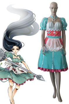 Alice madness return dress is Alice 2 piece Cosplay Costumes