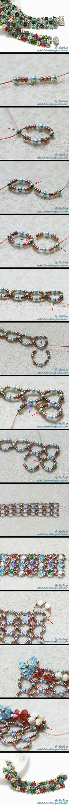 PAP bracelet So Beautiful.i wonder how the artist came to do this. at any rate, i always loved daisy chain flowers - this is a step beyond. Bead Jewellery, Seed Bead Jewelry, Beaded Jewelry, Handmade Jewelry, Seed Bead Tutorials, Jewelry Making Tutorials, Beading Tutorials, Beaded Bracelet Patterns, Jewelry Patterns