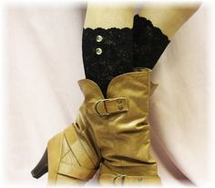 NEW BLACK Stretch lace boot cuffs for Spring/Summer