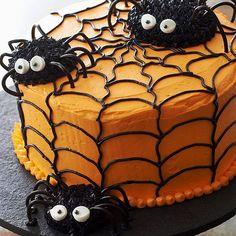 27 Halloween Treat Recipe Ideas - Spiderweb Cake - For a festive cake that's delightfully creepy-crawly, try our spiderweb cake. Cupcake spiders will give it an extra spooky finish./