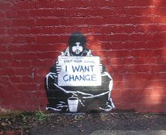 By Banksy. Banksy (unknown identity) is famous for his street art on social or political issues. He combines graffiti and stenciling techniques to portray satirical, yet dark ideas. Banksy Graffiti, Street Art Banksy, Banksy Posters, Bansky, Graffiti Artwork, Banksy Canvas, Banksy Prints, Stencil Graffiti, Graffiti Wall