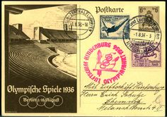 1936, Olympia trip, so postal stationery card with additional franking, decoratively!