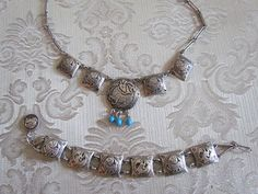 Vintage Sterling Silver Tribal Necklace and by LUXXORVintage, $185.00