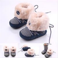 Baby Boy Girl Infant Newborn Winter Warm Boots Soft Sole Crib Shoes 0-12months