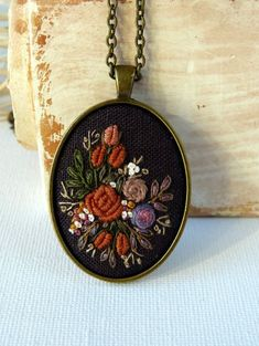 Hand embroidered by EmbroideredJewerly Bronze flower necklace. Hand embroidered by EmbroideredJewerly Polymer Clay Embroidery, Embroidery Jewelry, Silk Ribbon Embroidery, Hand Embroidery Patterns, Embroidery Stitches, Embroidery Designs, Flower Necklace, Needlework, Gifts For Her