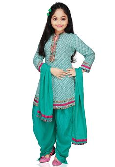 WHITE AND AQUA COTTON READYMADE PATIALA SUIT
