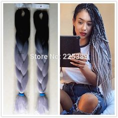 "10Packs 24"" 100g Black&Grey Ombre Two Tone Kanekalon Jumbo Braiding Synthetic Hair For Dreadlocks Crochet Box Braids Twist"