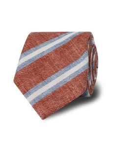 Brick Red Blue Club Stripe Tie, TM Lewin