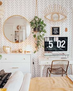 5 beautiful home office ideas & Tips on how to decorate your perfect home office space – diy Interior design Cute Room Ideas, Cute Room Decor, Room Ideas Bedroom, Bedroom Inspo, Zen Bedroom Decor, Bedroom Modern, Teen Bedroom, Design Bedroom, Boho Room