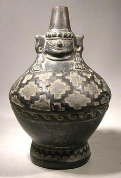 Pre-Columbian Peru, Lambayeque Blackware Naymlap Vessel