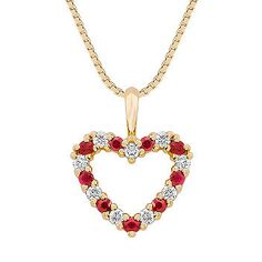 Round Ruby and Diamond Heart Pendant (18 in.) Nine round rubies, at approximately .23 carat TW, and nine round diamonds, at approximately .18 carat TW, alternate to form this stunning heart-shaped pendant. The total carat weight is approximately .41 carat and is crafted in superior 14 karat yellow gold, and hangs from a matching 18-inch box chain.