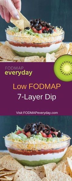 Presenting our low FODMAP Dip! We axed the beans but kept all the flavor with guacamole, lactose-free sour cream, olives & low FODMAP salsa. Fodmap Diet, Low Fodmap, Fodmap Foods, Fodmap Recipes, Dairy Free Recipes, Gluten Free, Diet Recipes, Healthy Recipes, Salad Recipes