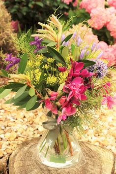Mediterranean themed posy of the week with British flowers including cleomie, clary sage, fennel, olive and bottlebrush designed in the U.K. by www.meadowsweet.co.uk