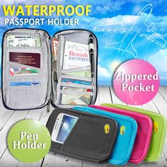 Travel Wallet Passport Holder Card Organizer Bag