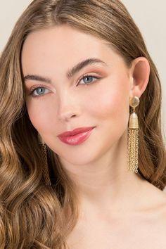 Dariela Chain Tassel Drop Earrings | Holiday Party Earrings