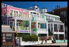 colorful beach houses | Picture/Photo: Row of colorful beach houses. Santa Monica, Los Angeles ...